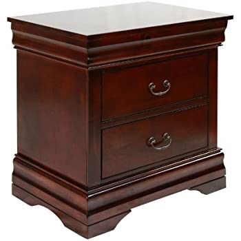 Furniture of America Summerville 2-Drawer Nightstand, Dark Cherry