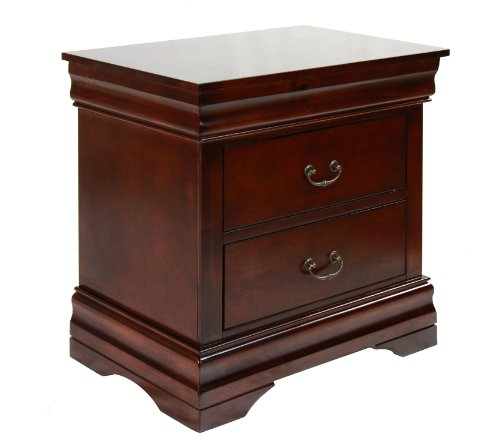 (Furniture of America Summerville 2-Drawer Nightstand, Dark Cherry)