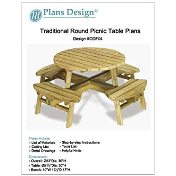 Traditional Round Picnic Table / Benches Woodworking Plans ...
