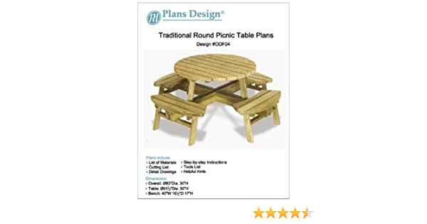Stupendous Traditional Round Picnic Table Benches Woodworking Plans Odf04 Evergreenethics Interior Chair Design Evergreenethicsorg