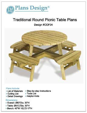Traditional Round Picnic Table / Benches Woodworking Plans, #ODF04
