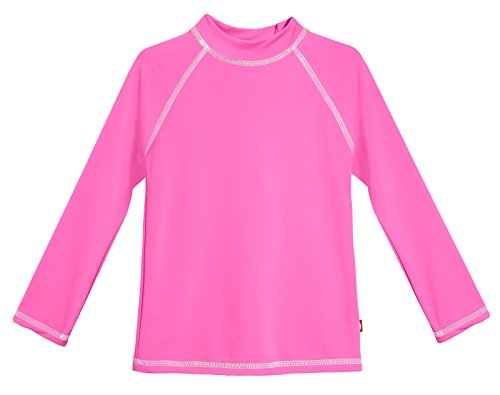 - City Threads LS Little Girls' Rashguard Swimming Suit Swim Tshirt Tee UPF50+ Sun Protection for Beach Pool Summer Fun, LS Medium Pink/White, 3T