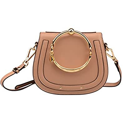 Ainifeel Women's Leather Handbags With Bracelet Handle On Clearance (Apricot(leather+suede))