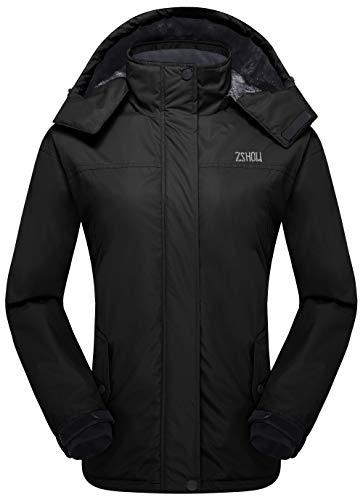ZSHOW Women's Hooded Warm Mountain Windproof Fleece Jacket Softshell Coat(Black, X-Large)