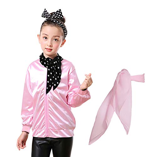 T-bird And Pink Lady (Yan Zhong 1950s Child Pink Ladies Satin Jacket with Neck Scarf T Bird Danny Costume Fancy Dress (with Rhinestone on The Back,)