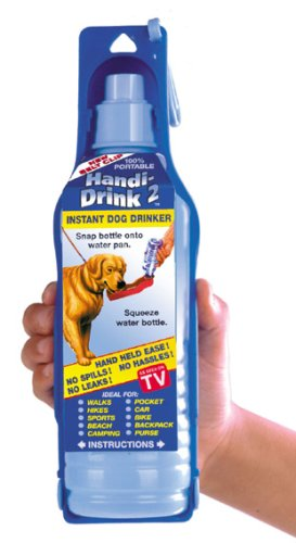 Dog Water Bottle - Portable - Carrying Strap and Belt Clip Included - Handi Drink 17Oz