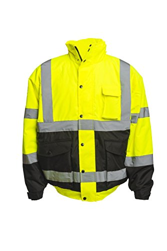 Reflective High Visibility Bomber Jacket: Outdoor Coat with Nylon Shell Teflon Coating & Removable Fleece Liner for Hunting & Construction - 4X Large