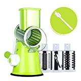Rotary Cheese Grater Round Mandoline Slicer with 3 Interchangeable...