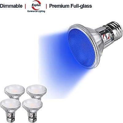 Explux Commercial Lighting Premium Full-Glass Color LED PAR20 Flood Light Bulbs