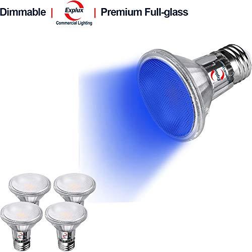 Blue Reflector Floodlight - Explux Premium Full-Glass Blue Color LED PAR20 Flood Lights, Dimmable, Indoor/Outdoor, 5W (50W Equivalent), 4-Pack
