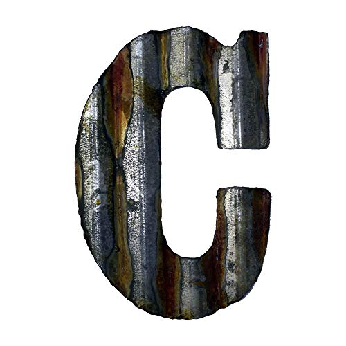 Custom Cut Decor 8'' Rusty Galvanized Corrugated Metal Letter -C (Letters Vintage Wall For Decor)