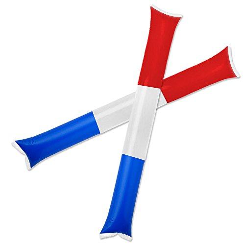 Cheerleading Spirit Sticks - GOGO 50 Pairs Patriot Style Thunder Sticks, Inflatable Stadium Noisemakers - Red/White/Blue