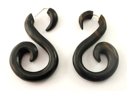 (Krishna Mart India a Pair of African Tribal Ebony Organic Black Spiral Wood for Women Girls Ethnic Earrings Dangle Surgical Stainless Steel Wooden Fashion Jewelry Hippie Boho Gypsy Coconut sew_144)