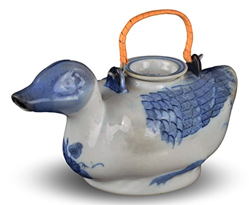 Vintage Duck Teapot Blue and White Porcelain Hand-painted 1980s