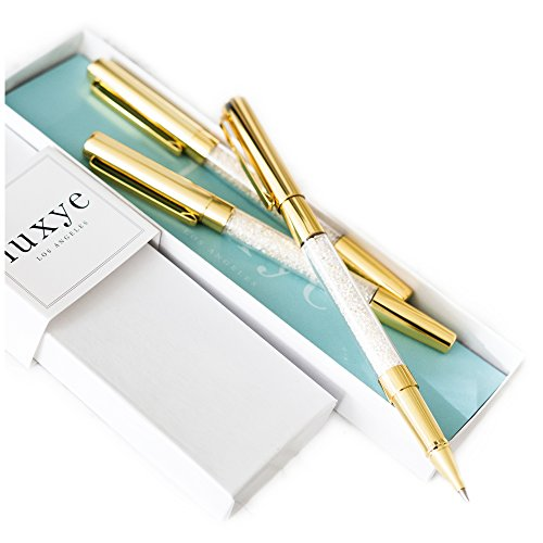 (Gold Pen with Gold Cap - 3 Fine Ballpoint Gold Crystal Pens in Glossy White Gift Box | Gold Office Decor Supplies Gifts for Women, Bridesmaids, Mothers Day, Coworkers, Christmas (Gold - Black Ink))