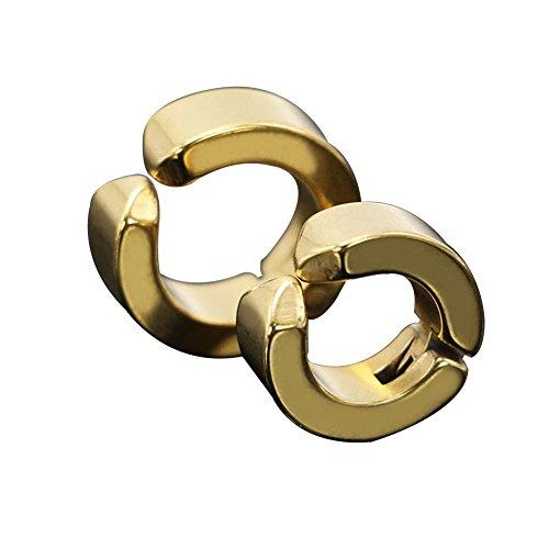 Shaped Fashion Jewelry (super1798 Fashion Men Ear Clip Titanium Steel Earrings U Shaped Ear Studs Jewelry Gift - Gold)