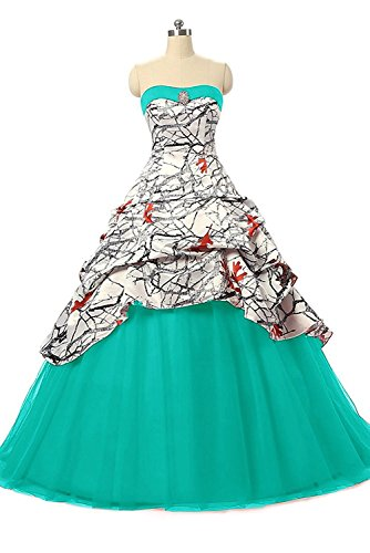 iLovewedding Realtree White Camo Wedding Dress Tulle Ball Gown Prom Party Quinceanera(Tiffany Blue 17W)