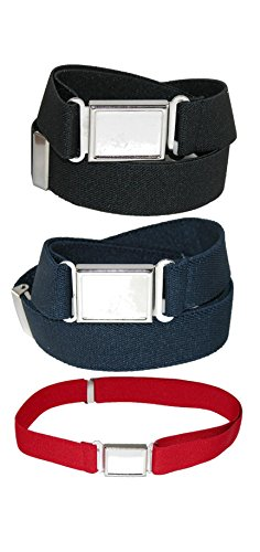 CTM Kids' Elastic Adjustable Belt with Magnetic Buckle (Pack of 3 Colors) by CTM
