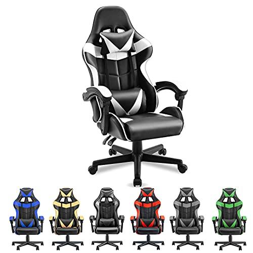 Soontrans silla para juegos en blanco y negro, silla ergonómica para juegos, silla de carreras para juegos, silla para computadora con respaldo alto, reposacabezas ajustable y soporte lumbar (blanco polar)