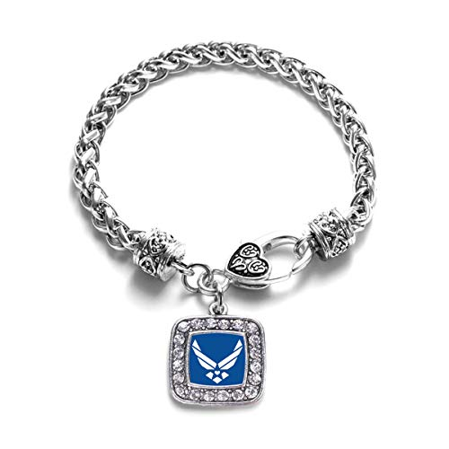 Inspired Silver - Air Force Symbol Braided Bracelet for Women - Silver Square Charm Bracelet with Cubic Zirconia - Pave Square Link