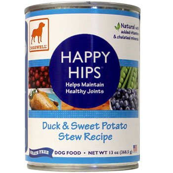 Dogswell Happy Hips for Dogs, Duck and Sweet Potato Stew Recipe, 13-Ounce Cans (Pack of 12), My Pet Supplies