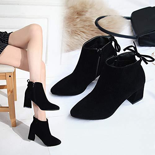Qiusa High Heels Martin Stiefel weiblich dick mit kurzen kurzen kurzen Stiefeln weibliche Martin Stiefel zeigten hochhackige, große Damenstiefel (Farbe   38, Größe   Braun) 9e964e