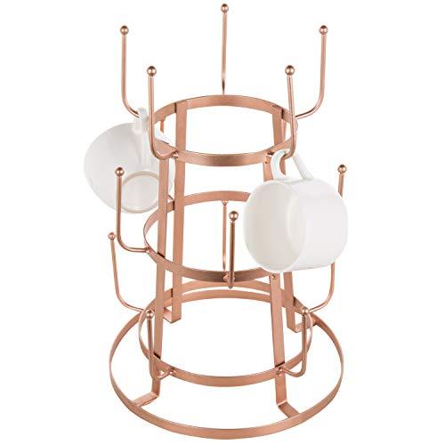MyGift 15-Hook Rose Gold-Tone Metal Coffee Mug & Cup Stand
