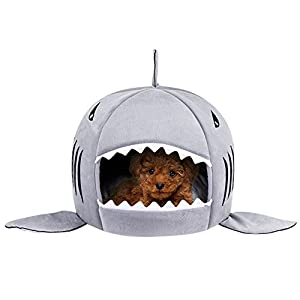 Dog Bed Shark Covered Cave House for Small Puppy Cats up to 12lbs Washable Tent with Removable Cushion and Water Resistant Bottom (16.5″x16.5″x15.5″)