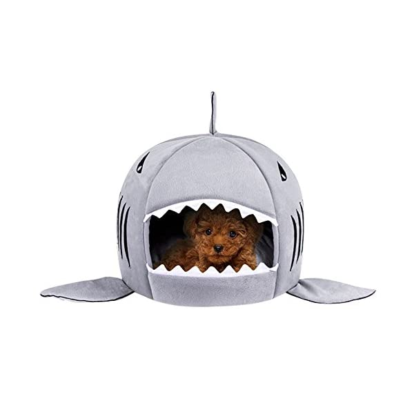 Washable Shark Pet House Cave Bed for Small Medium Dog Cat with Removable Cushion and Waterproof Bottom