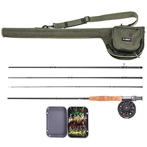 Lixada Fly Fishing Rod and Reel Combo with Carry Bag & 20 Flies - Premium 9' 4-Piece Carbon Fiber Rod with Lightweight ABS Reel - Complete Starter Package Fly Fishing Starter Kit - Rod Fishing Starter Fly