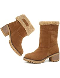 Women's Winter Snow Boots Waterproof Round Toe Suede Chunky Mid Heels Warm Fur Ankle Boots