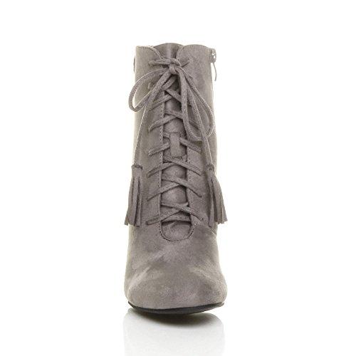 Ajvani Womens Ladies high Block Heel Lace up Tassel Vintage Ankle Boots Size Grey 1y7sFwGcr