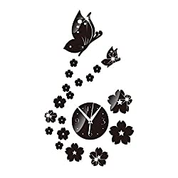 Unee1 DIY 3D Wall Clock Silent Non Ticking Decorative Living Room/Bedroom/Office/Kitchen/TV Decor With Modern Art Butterfly And Flower Stickers Decals,Battery Operated (Black)