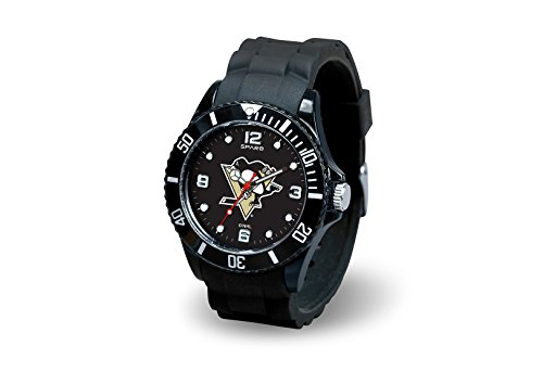 NHL Pittsburgh Penguins Spirit Watch, Black (Clock Pittsburgh Penguins)