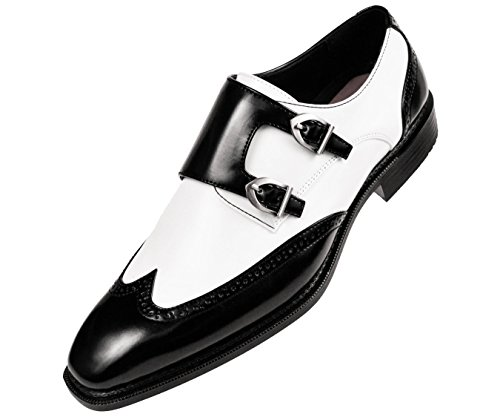 Sio Mens Smooth Faux Leather Double Monk Strap Formal Tuxedo Oxford Wingtip Dress - Wingtip Double