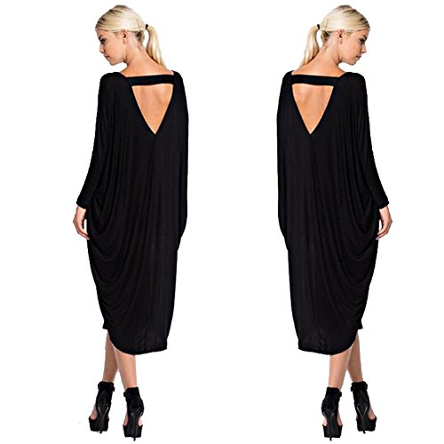 Keyhole Party - ALAIX Womens Long Sleeve Loose Irregular Hem Autumn Dress Black