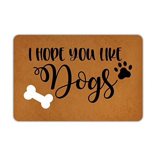 Front Door Mat Welcome Mat I Hope You Like Dogs Machine Washable Rubber Non Slip Backing Bathroom Kitchen Decor Area Funny Doormat Indoor Outdoor Rug