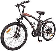 DJ Mountain Bike 500W 48V 13Ah Power Electric Bicycle, Matte Black, LED Bike Light, Fork Suspension and Shiman