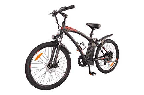 DJ Mountain Bike 750W 48V 13Ah Power Electric Bicycle, Matte Black, LED Bike Light, Fork Suspension and Shimano Gear,