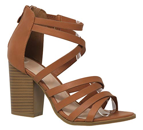 MVE Shoes Women's Strappy Open Toe Zippered Chuncky Sexy-Heeled Sandal, Manner-1 tan 10