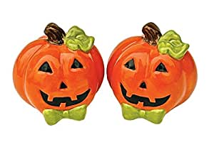 Halloween Smiling Orange Jack-O-Lanterns Ceramic Salt and Pepper Shaker Set