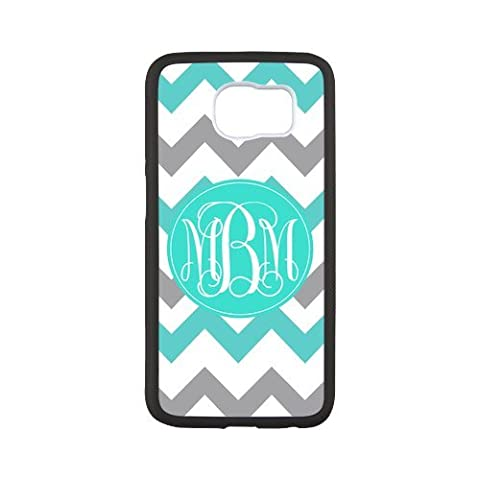 iFUOFF Amazing Cyan and Grey Zigzag Chevron VS Oval Monograms Customized Protective Snap On Fashion Case for Samsung G9200 GALAXY S6 (Black or White 2 (Lion King Htc One M7 Case)