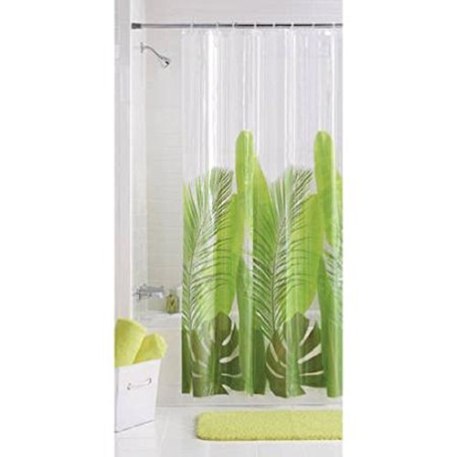 Photoreal Modern Tropical Leaf Vinyl Shower Curtain PEVA (1) (Tropical Print Curtains)