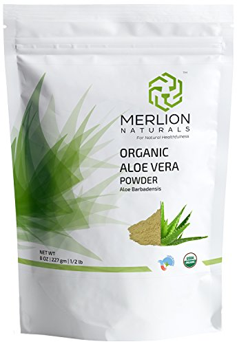 100% Organic Aloe Vera Powder by MERLION NATURALS - 8 OZ / 227 g / 1/2 lb | Aloe Barbadensis | USDA Organic Certified | Vegan | Non GMO