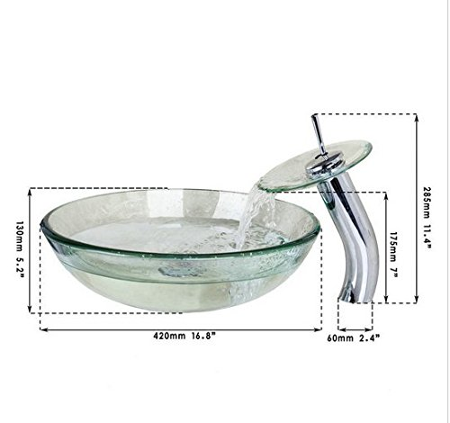 GOWE Transparent Glass Basin Sink Bathroom Countertop Washasin Vanity Vessel Bowl Bar with Brass Faucet Mixer Tap 1