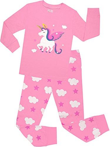 Little Girls Horse Pajamas Set Children Christmas PJs 100% Cotton Sleepwear Size 6 -