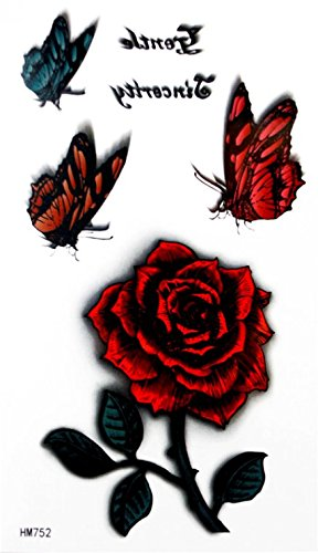 Grashine new design temporary tattoo stickers Colorful butterflies with red rose waterproof and non toxic fake temp tattoo - Glasses Real Cute Fake That Look