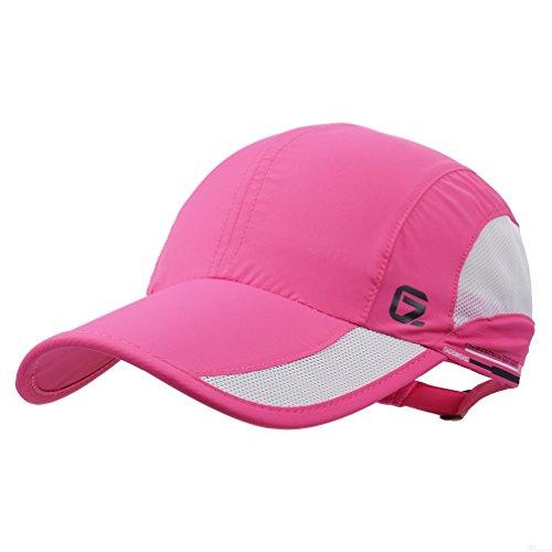 GADIEMKENSD Quick Dry Sports Hat Lightweight Breathable Soft Outdoor Run Cap (Classic Upgrade, DeepPink)