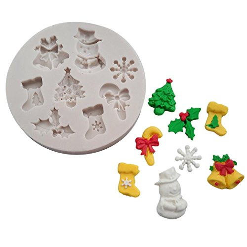 KingWo 3D Christmas Fondant Cake Chocolate Sugarcraft Mold Xmas Silicone Baking Mold (D)
