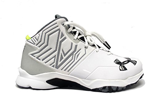 Under Armour Team Banshee Mid Turf Men's Football Cleats (12, White/Black)